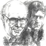 Johan Kvandal and Knut Hamsun. Drawing by Ulf Aas.